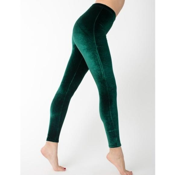 6865727e62e22 American Apparel Pants - American Apparel soft green velvet leggings